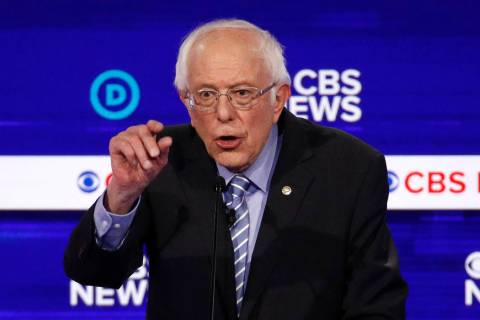 =Democratic presidential candidate Sen. Bernie Sanders, I-Vt., speaks during a Democratic presi ...