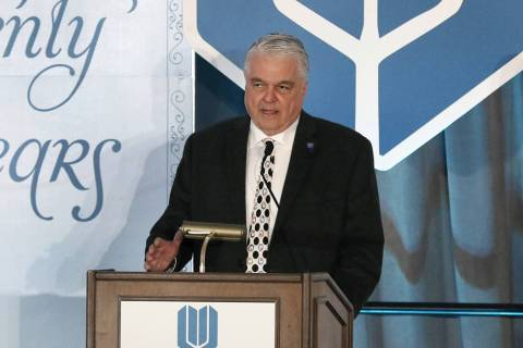 Governor Steve Sisolak speaks during the 20th anniversary luncheon for the Adelson Clinic for D ...