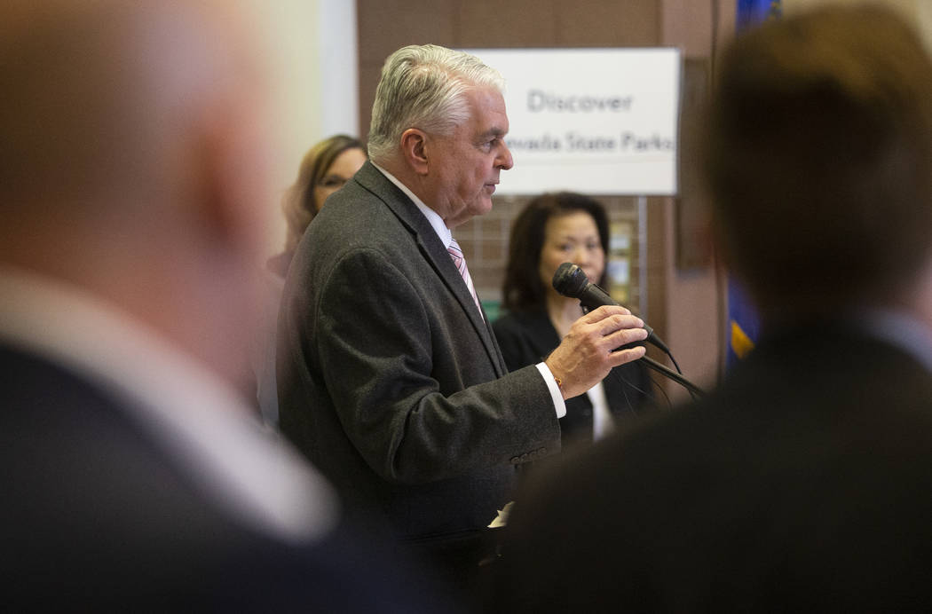 Gov. Steve Sisolak speaks during a press conference to update the public on the state of the co ...