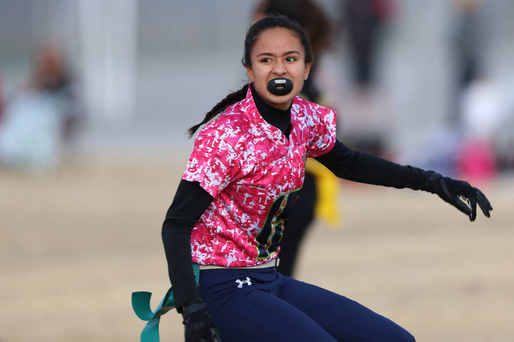 Green Valley's Jazlyn Camacho is shown during a flag football game on Wednesday, Jan. 16, 2019. ...