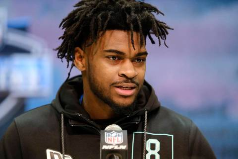 Alabama defensive back Trevon Diggs speaks during a press conference at the NFL football scouti ...