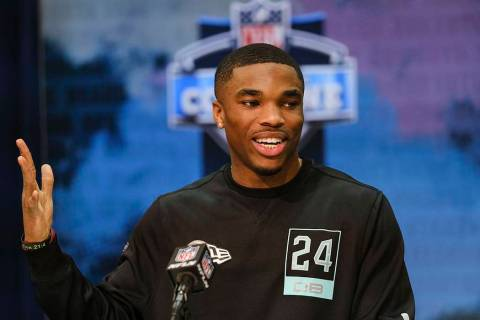 Ohio State defensive back Jeff Okudah speaks during a news conference at the NFL football scout ...