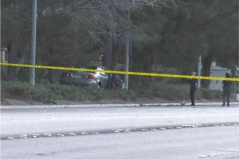 Las Vegas police investigate a fatal crash near Tropicana Avenue and Buffalo Drive in on Thursd ...