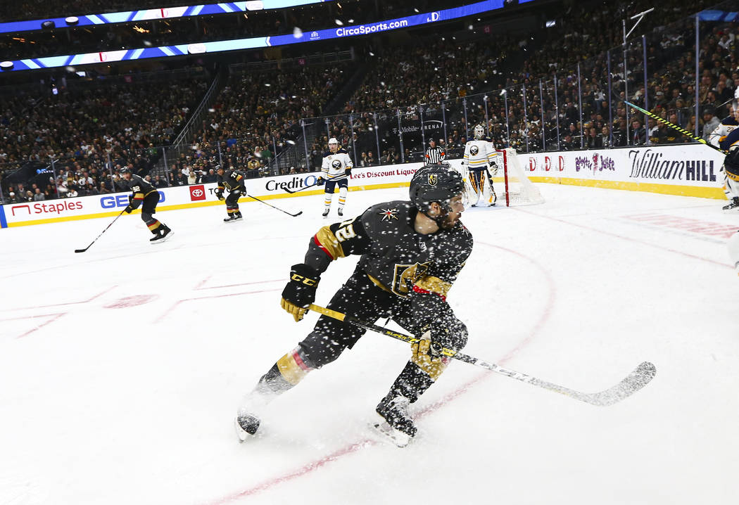 Golden Knights' Gage Quinney (72) skates on the ice during the first period of an NHL hockey ga ...