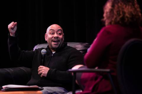 Raymond Santana Jr., left, speaks at the College of Southern Nevada Nicholas J. Horn Theatre on ...