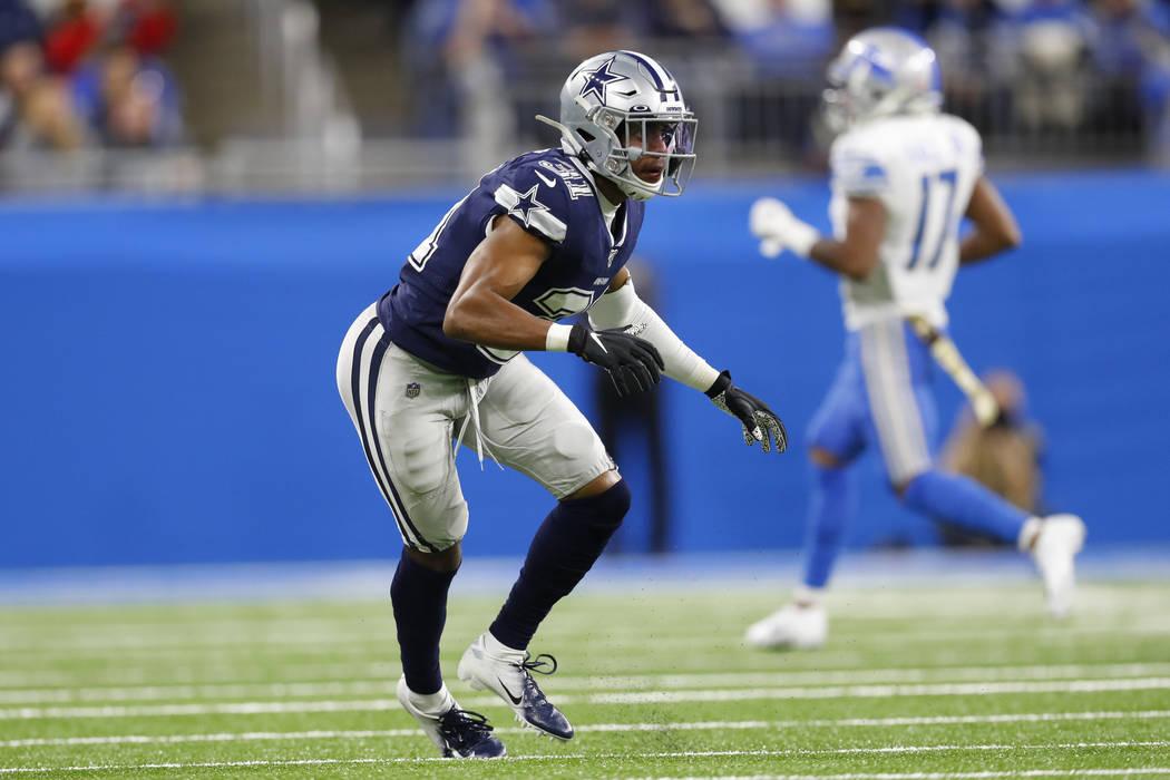 Dallas Cowboys cornerback Byron Jones (31) plays against the Detroit Lions during an NFL footba ...