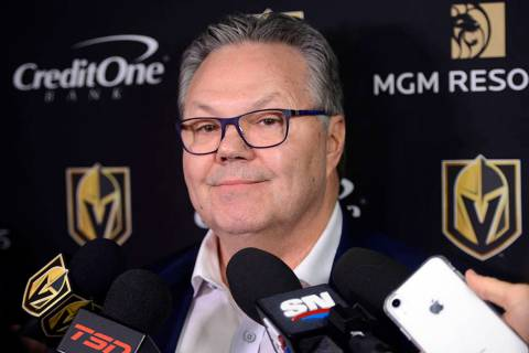 Vegas Golden Knights NHL hockey team general manager Kelly McCrimmon holds a news conference in ...