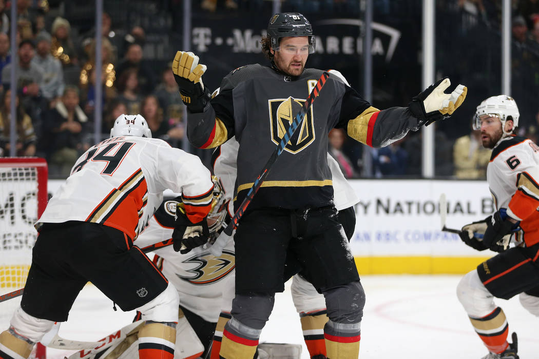 Vegas Golden Knights right wing Mark Stone (61) looks on as he loses his stick in a play during ...