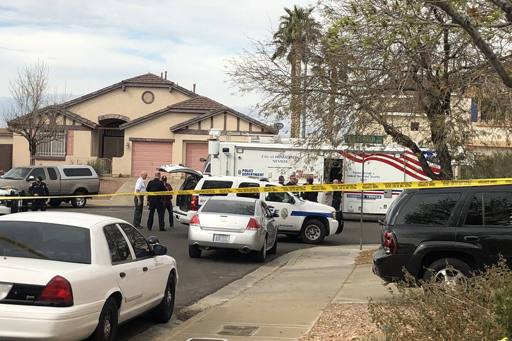 Henderson police investigate an officer-involved shooting near Cabana Blanca Street and Viento ...
