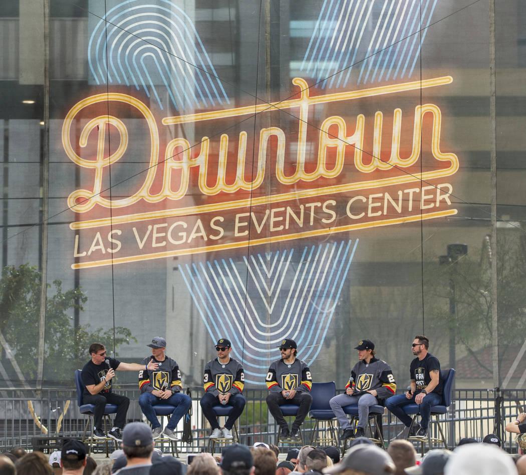 Vegas Golden Knights' sportscasters Dave Goucher, left and Shane Hnidy, right, interview newer ...
