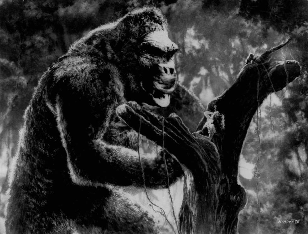 King Kong views actress Fay Wray on a limb of a giant tree in a scene from the classic 1933 fil ...