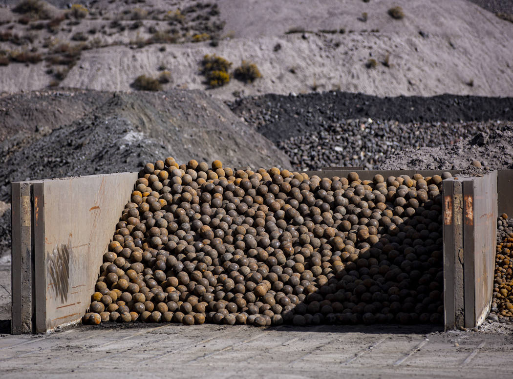 Grinding steel balls, used to extract gold and other precious metals in ore mineral processing, ...