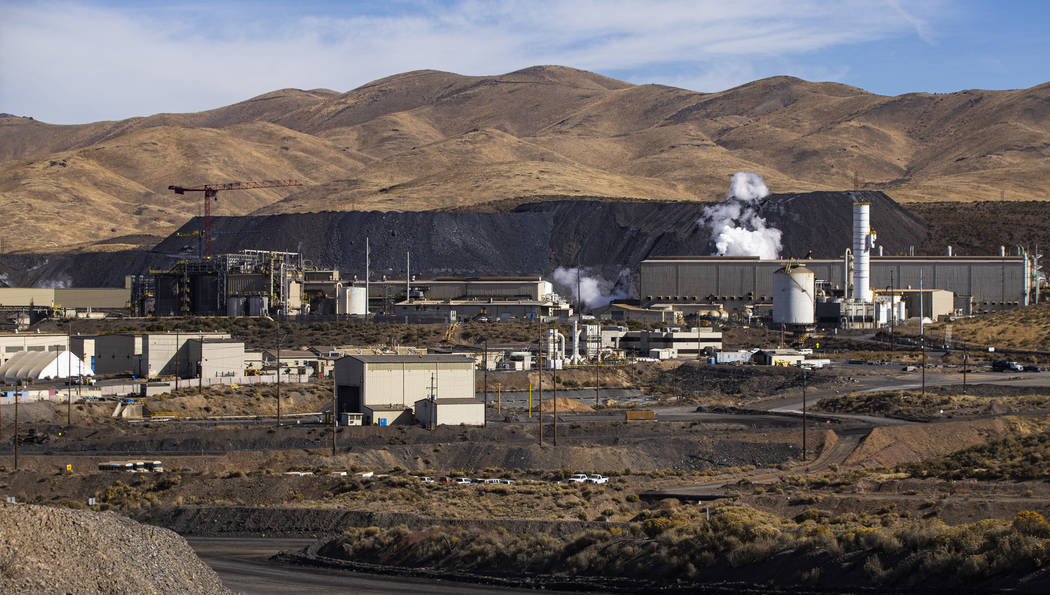 A view of the Goldstrike autoclave facility, upper right, and the non-cyanide leaching resin in ...