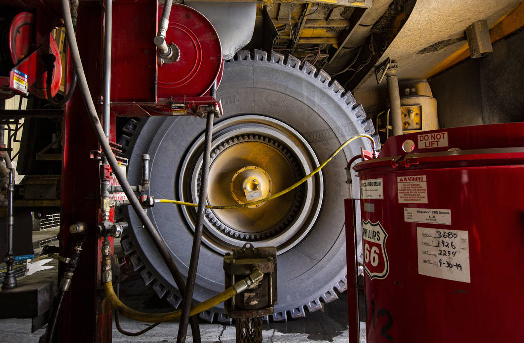 A view of a tire on a Komatsu haul truck, which can carry over 300 tons, at Nevada Gold Mines' ...