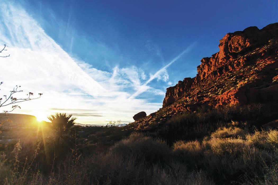 The sun sets in St. George, Utah on Wednesday, Jan. 5, 2020. (Benjamin Hager/Las Vegas Review-J ...