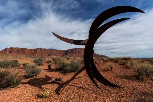 A metal work in the sculpture garden at Kayenta. (Benjamin Hager/Las Vegas Review-Journal) @ben ...