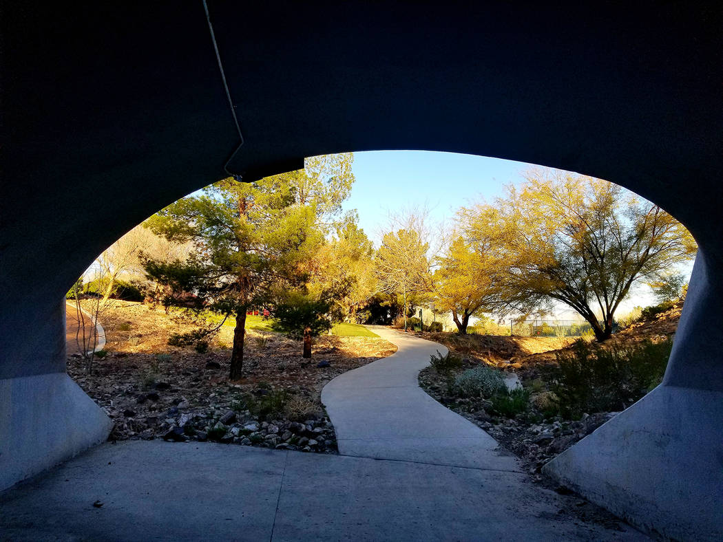 Walkers, runners and bicyclists share a Seven Hills web of paths that includes city of Henderso ...