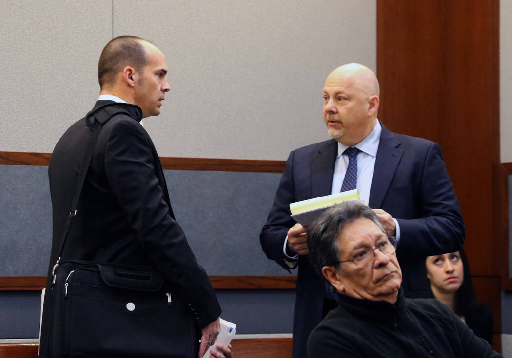 Chief Deputy District Attorney, Richard Scow, left, and Rossi Ralenkotter's lawyer Anthony Sgro ...