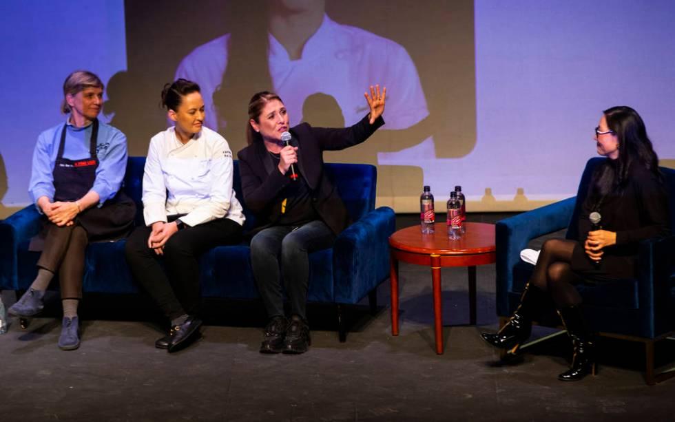 Chefs Mary Sue Milliken, from left, and Jennifer Murphy listen to chef Lorena Garcia speak duri ...