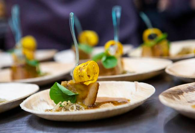 Rotisserie porchetta from Lorena Garcia's Chica was one of the dishes served. (Chase Stevens/ ...
