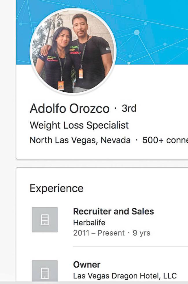 """Outside of real estate, Adolfo Orozco also works as a """"weight loss specialist"""" with Herbali ..."""