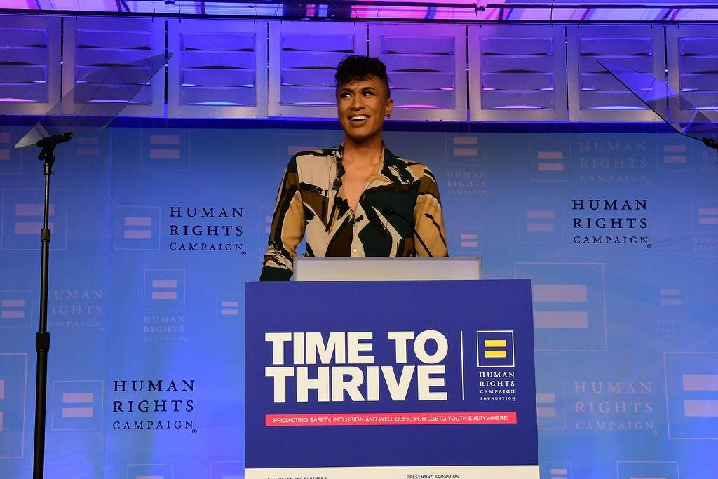 Las Vegas 22-year-old Avi Newlyn Pacheco speaks during the Human Rights Campaign Foundation's ...