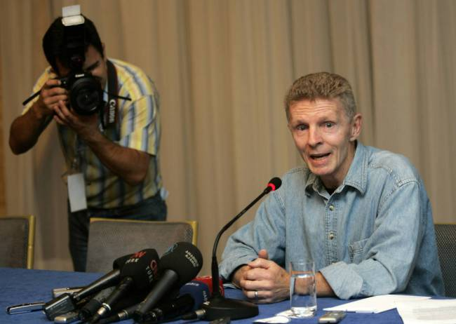 Midnight Express' real-life hero Billy Hayes talks during a press conference in Istanbul, Turke ...