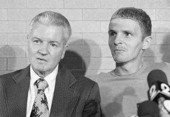 Hayes and his father, William Joseph Hayes, speak at a news conference on Oct. 24, 1975, after ...