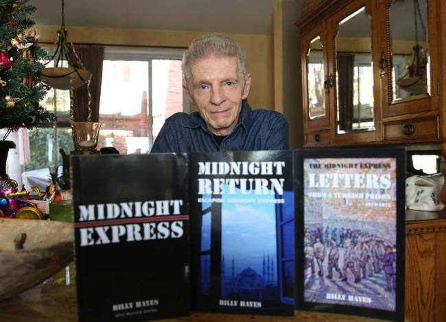 Billy Hayes with his books at his Summerlin home. He's been telling his story of being in Turki ...