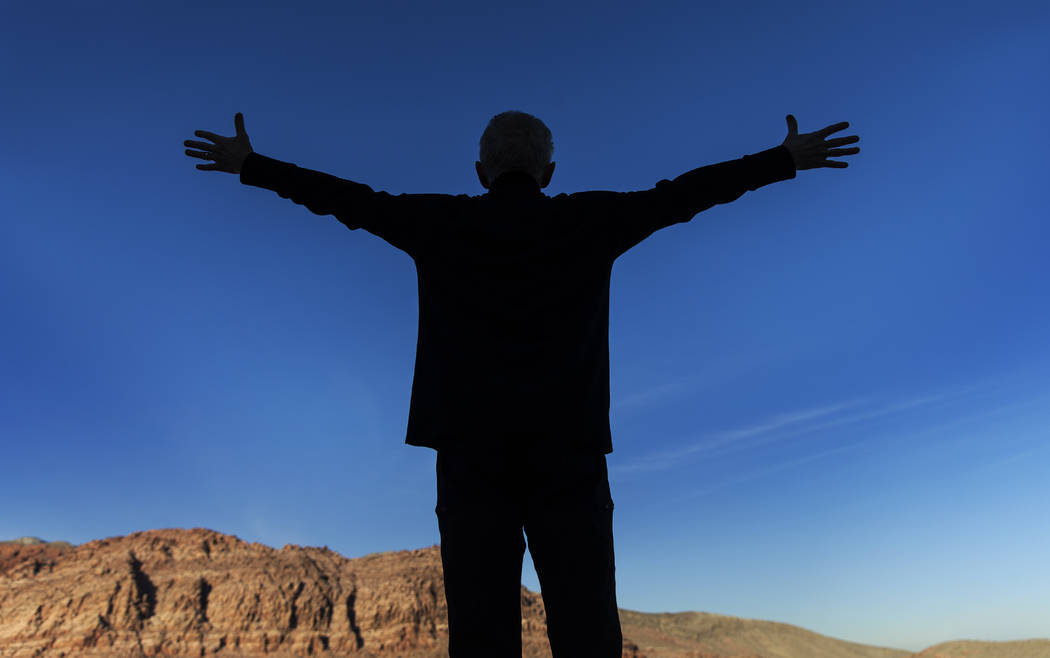 Hayes enjoys doing yoga at Red Rock Canyon, which is not far from his Summerlin home. (Benjamin ...