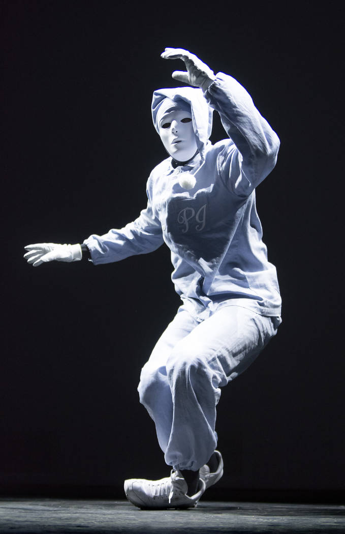 A cast member from the Jabbawockeez rehearse at the MGM Grand hotel-casino at 3799 Las Vegas Bl ...