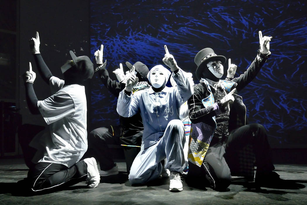 Cast members from the Jabbawockeez rehearse at the MGM Grand hotel-casino at 3799 Las Vegas Blv ...