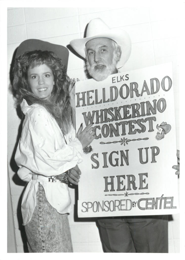 Southern Nevadans promote the Whiskerino Contest at the 1989 edition of Helldorado Days, one of ...