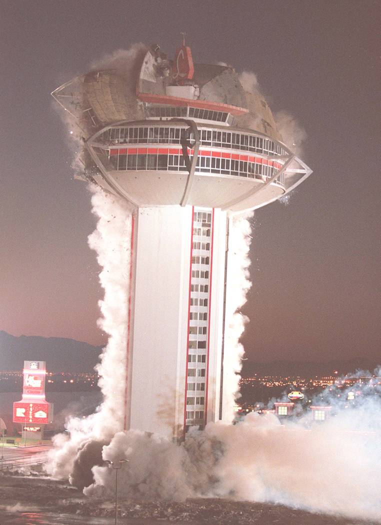 The '60s through the '90s saw the implosion of several Las Vegas hotels, including the Landmark ...