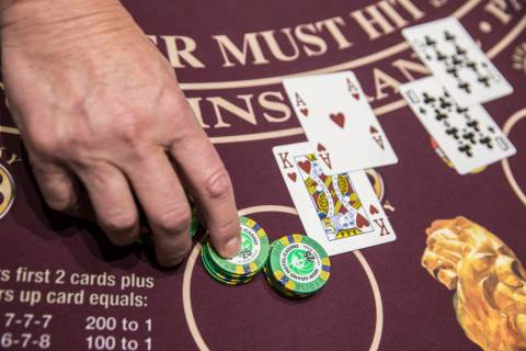 Blackjack is dealt at the MGM Grand hotel-casino on Thursday, April 19, 2018, in Las Vegas. Ben ...