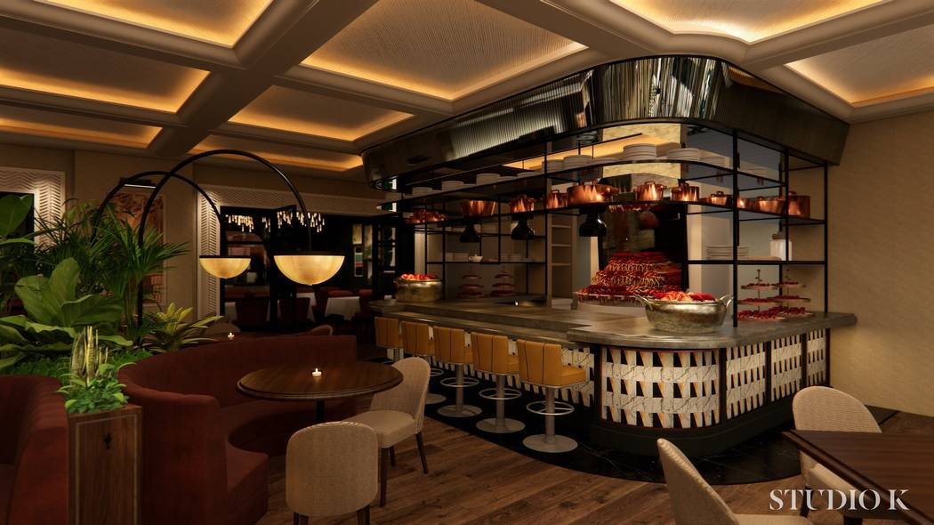 A rendering of the dining room and raw bar at Bugsy & Meyer's, which is expected to open in May ...
