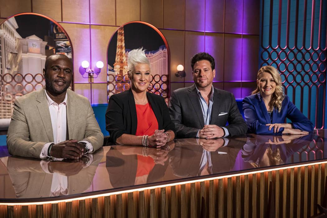 """Vegas Chef Prizefight"" judge Cliff Crooks, left; host Anne Burrell; and judges Scott Conant an ..."
