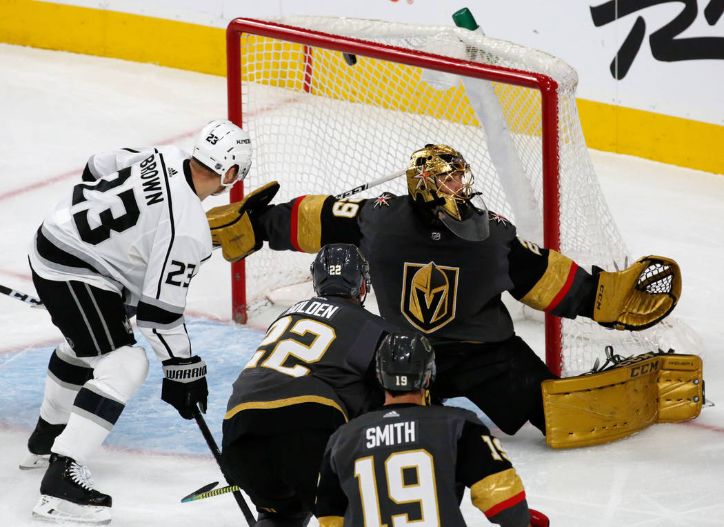 Vegas Golden Knights goaltender Marc-Andre Fleury (29) cannot make a save on a goal by Los Ange ...