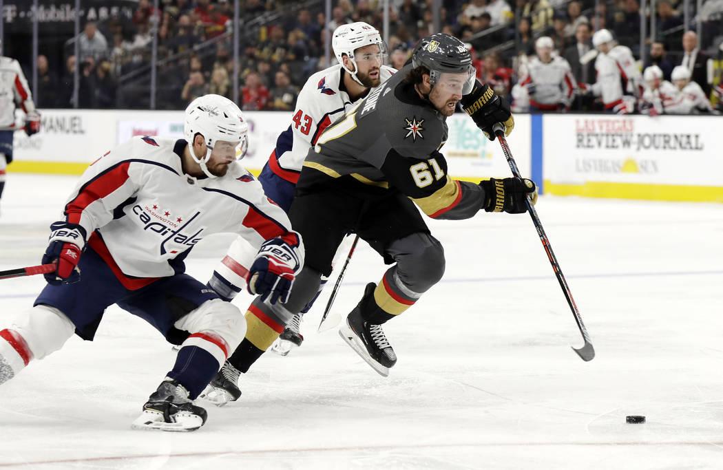 Vegas Golden Knights right wing Mark Stone (61) skates as Washington Capitals defenseman Michal ...