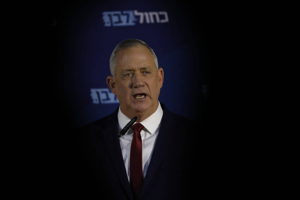 Blue and White party leader Benny Gantz, delivers a statement to the media in Ramat Gan, Israel ...