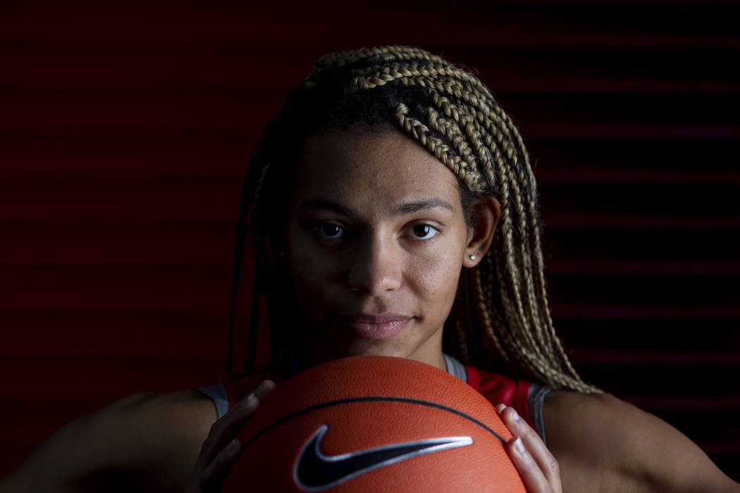 Guard Bailey Thomas (14) poses for a portrait during UNLV women's basketball media day at Thoma ...