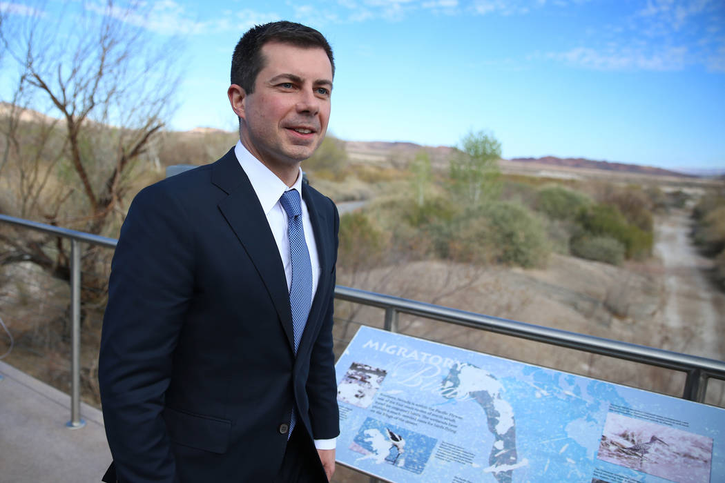 Democratic presidential candidate former South Bend, Ind., Mayor Pete Buttigieg leaves after pa ...