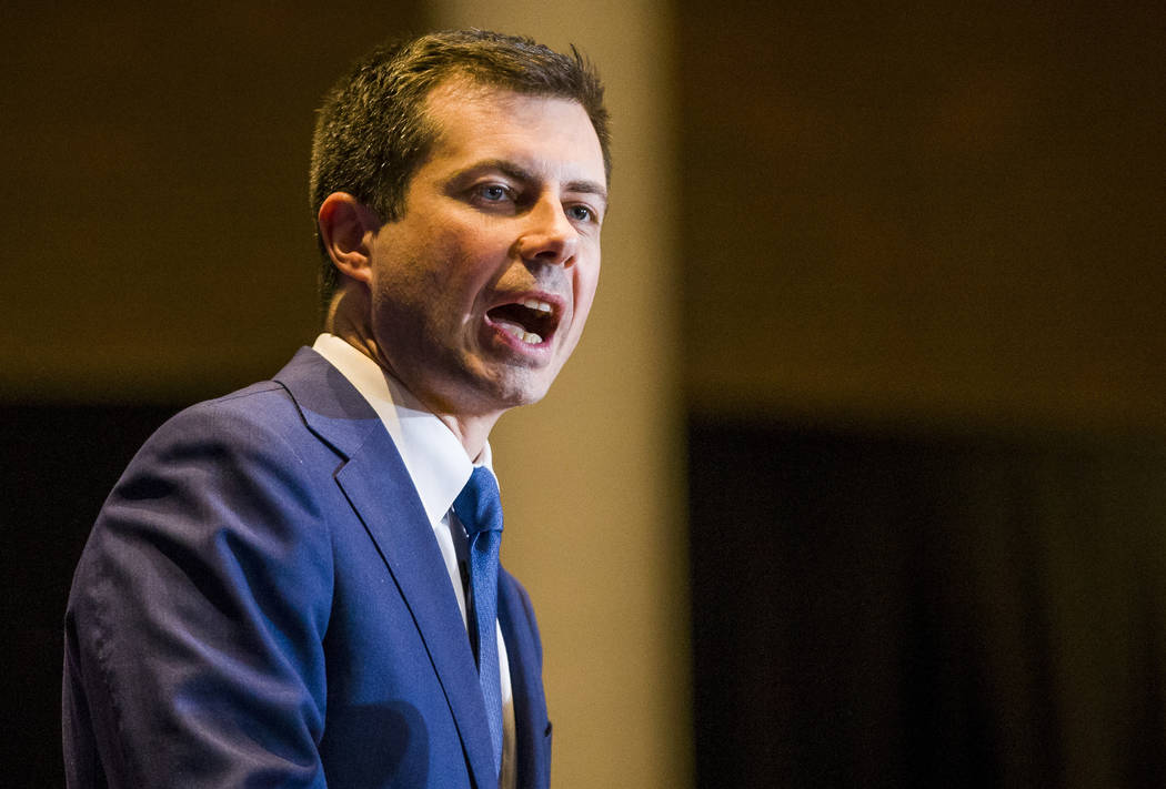 Pete Buttigieg ends his presidential campaign during a speech to supporters, Sunday, March 1, 2 ...