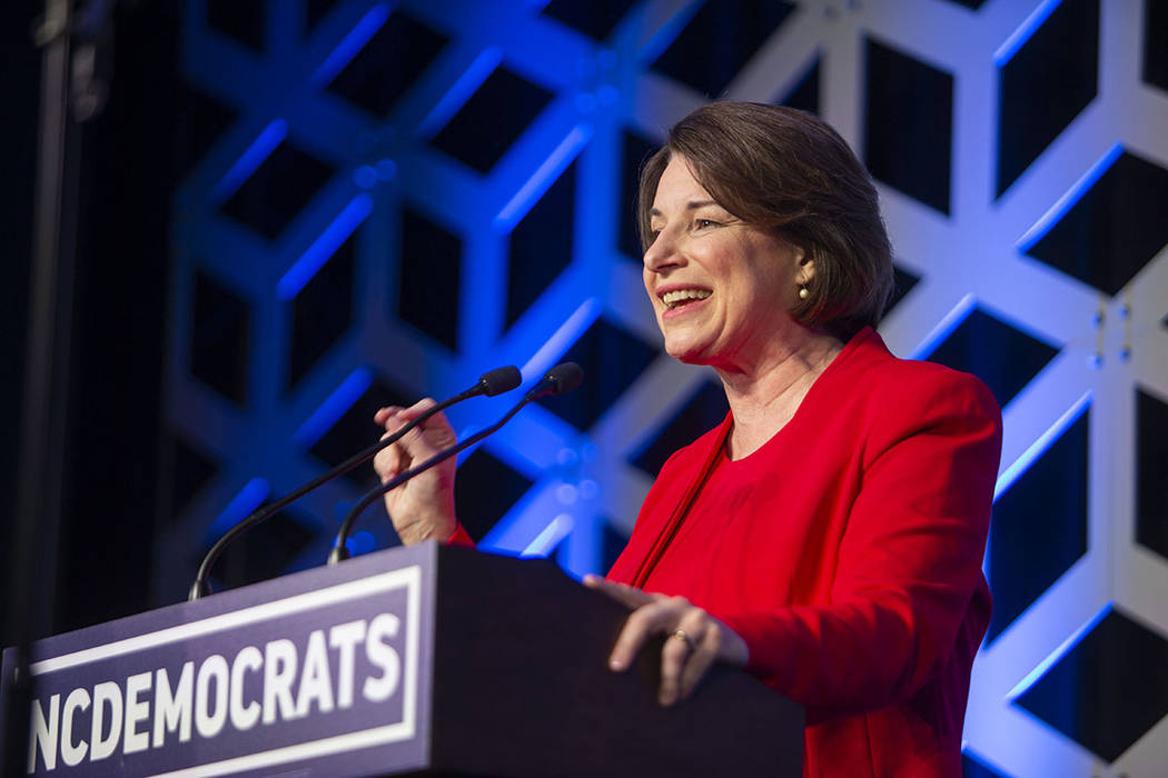 Sen. Amy Klobuchar, D-Minn, speaks at the Blue NC celebration at the Hilton Charlotte Universit ...