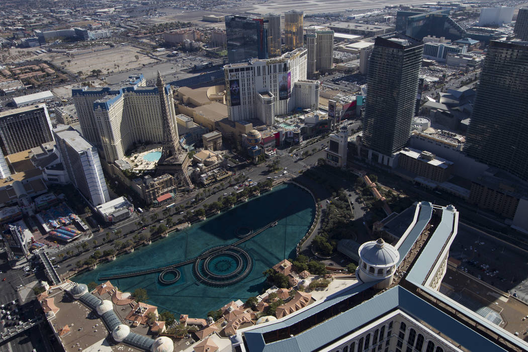 Aerial photo of the Bellagio and fountains on the Strip in Las Vegas, Thursday, Jan. 23, 2020. ...