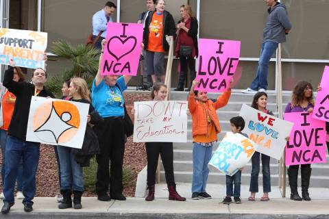 Parents and students supporting the online Nevada Connections Academy charter school protest ou ...