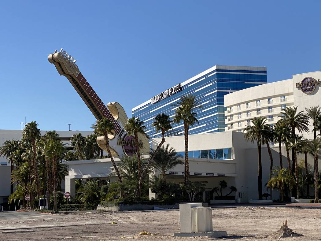 The guitar sign at the entrance of the now-closed Hard Rock Hotel is shown on Wednesday, Feb. 1 ...
