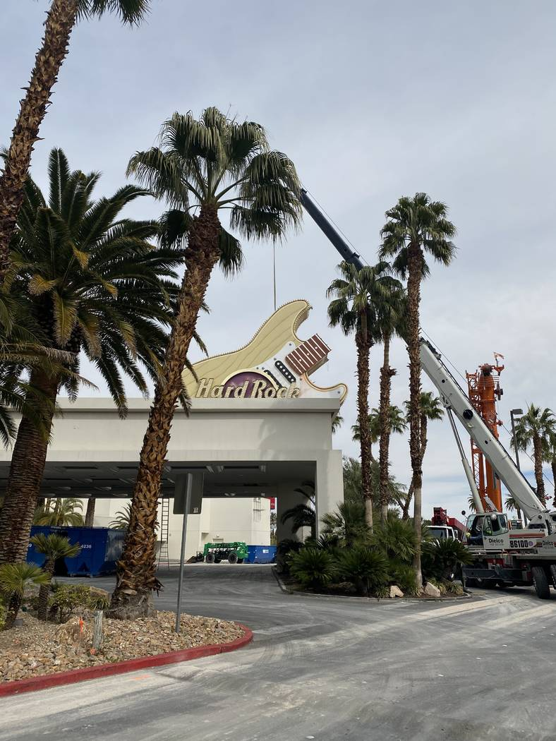 A shot of the Hard Rock Hotel sign is shown on Friday, Feb. 28, 2020. (Virgin Hotels Las Vegas)