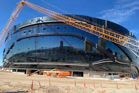 The space where a planned 80 feet tall by 345 feet long video screen will go on Allegiant Stadi ...