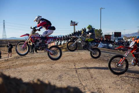 Racers start in the motorcycle race in the Mint 400 in Primm, Nevada, Saturday, March 9, 2019. ...